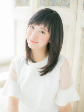 """黒髪&ベビーバングの""""重軽""""セミディa"""